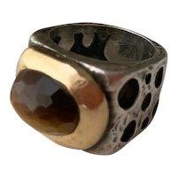 Stunning Dian Malouf Tigers Eye Sterling & 14k Gold Ring