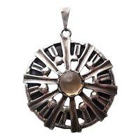 Vintage Taxco Mexico Sterling Silver & Citrine Glass Pendant Eagle Mark