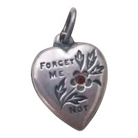 Victorian Sterling Silver Puffy Heart Charm Forget Me Not Red Stone