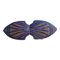 Vintage Art Deco Blue and Gold Enamel Dress Buckle or Clasp