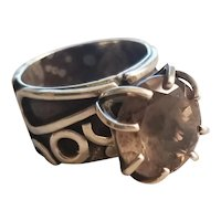 Magnificent Modernist Signed Taxco Sterling Silver Topaz Studio Ring