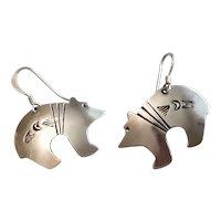 Signed Sterling Silver Zuni Bear Fetish Earrings