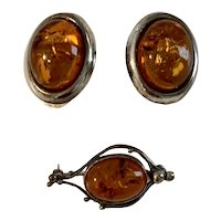 Vintage Sterling Silver &  Baltic Amber Clip Back Earrings and Brooch
