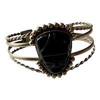 Vintage Alpaca Silver & Black Onyx Aztec Mask Cuff Bracelet Mexico