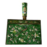 Large Vintage Chinese Brass & Enamel Cloisonne Silent Butler Crumb Catcher with Birds