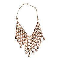 Vintage Rose Gold Tone Fancy Stamped Design Fringe Bib Necklace