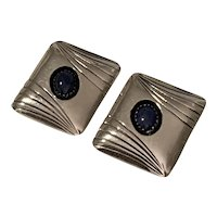 Alice M. Shirley Navajo Native American Sterling Silver & Lapis Post Earrings