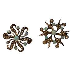 Antique  14k Rose Gold Australian Fire Opal Seed Pearl Starburst Brooch