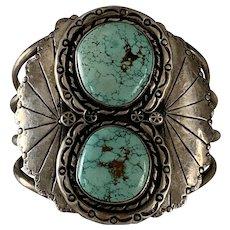 Massive Double Turquoise Navajo Concho Stamped Design Bracelet