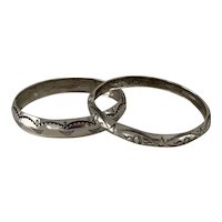 Pair of Stamped Sterling Silver Native American Bangle Bracelets