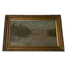 Small Antique Painting Oil on Canvas Birds, Lake or Pond & Trees