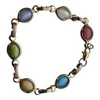 Sweet Open Back Bezel Set Pastel Stone Bracelet