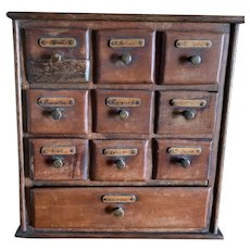Primitive 10 Drawer Antique Czech Hand Made Spice Cabinet
