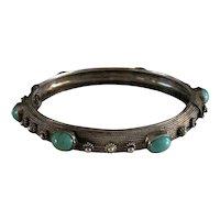 Ornate Vintage Sterling and Turquoise Multi Stone Hinged Bangle Bracelet