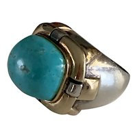 Huge  Dian Malouf  Sterling & 14k Gold & Turquoise Ring