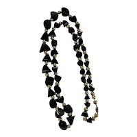"""Vintage Chunky Natural Black Coral & Gold Tone Beads Graduated Necklace 37"""""""