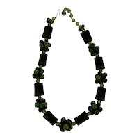 Vintage 60's Modernist Chunky Green Bark and Beads Necklace Germany