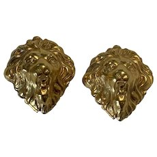 Vintage Gold Tone Statement Lion Clip On Earrings