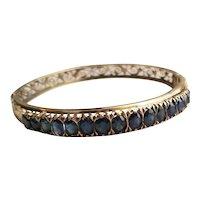 Sapphire & 10k Yellow Gold Filigree Bangle Bracelet