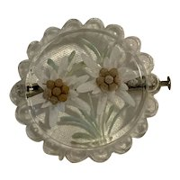 Vintage 1940's Reverse Carved Lucite Pin Brooch with White Flowers
