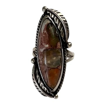 Vintage  Sterling Silver and Mexican Cantera Boulder Opal Ring signed PLATA