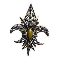 Vintage ART Co. Fleur de Lis Signed Brooch, Enamel, Seed Pearl