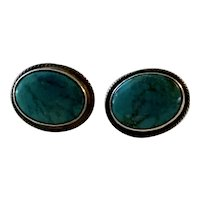 Vintage Signed Victor V Navajo Turquoise and Sterling Post Earrings