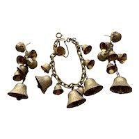 Miriam Haskell Bell Chimes Gold Tone Bracelet & Earrings Demi Parure Set
