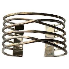 Vintage Taxco Sterling Silver Modernist Openwork Cuff Bracelet