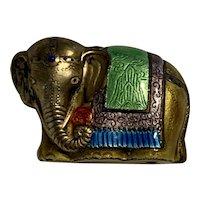 Antique Chinese Enamel On Brass Decorated Elephant