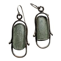 Vintage Roman Sea Glass and Sterling Silver Dangle earrings