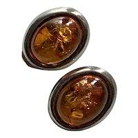 Rich Amber & Sterling Silver Clip Back Earrings