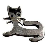 Vintage TAXCO Sterling Silver Stylized Cat Kitty Brooch Pin