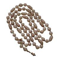 "Vintage Necklace Latticino Aventurine Beads Venetian White & Gold 38.5"""