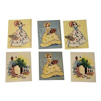 Set of 6 House of Tallies Bridge Cards, Southern Belle Ladies, Garden