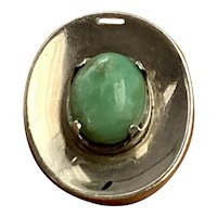 Los Ballesteros Sterling Silver & Green Jade Modernist Pin Pendant