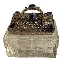 Lovely Vintage Jeweled Lid Cut Crystal Trinket Box