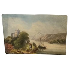 Lovely Upstate New York Signed Lake Side Oil Painting 1800's