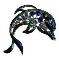 Vintage Shades of Blue Enamel and Rhinestone Dolphin Pin Brooch