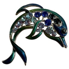 Vintage Shades of Blue Enamel and Rhinestone Dolphin Pin Brooch