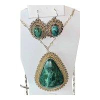 Vintage Sterling Silver Necklace, Pendant Brooch & Earrings Israel Eilat Stone