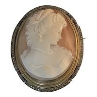 Antique 800 Silver & Gold Filled Marcasite and Genuine Shell Cameo Lady Brooch Pendant