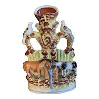 "Staffordshire Victorian Spill Vase "" Good Companions"" Cow, Horse & Birds"
