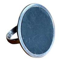 Vintage Large Danish Modern Sterling Silver & Obsidian Saucer Disc Ring