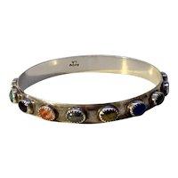 Vintage Native American Sterling Bangle Bracelet Multi Stone Signed LB