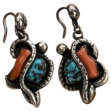 Vintage Sterling Silver Branch Coral and Turquoise Zuni Snake Earrings