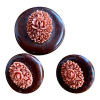 Vintage Faux Carved Coral Roses on Wood Brooch & Earrings Set