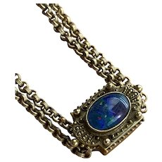 Heavy Antique Gold Filled Faux Black Opal Rolled Chain Watch Fob Necklace