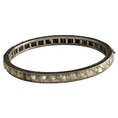 Art Deco Diamonbar channel Set Hinged Sterling Bangle Bracelet