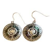 Vintage Signed Sterling Silver Abalone Pierced Hook Dangle earrings Eagle Mark